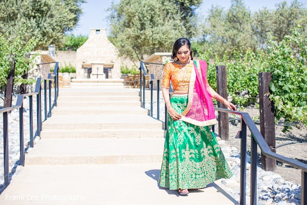 Indian bridal waling on stairs