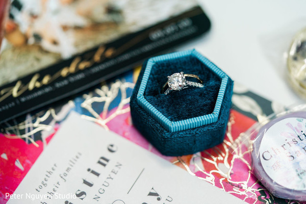 A close up to the Indian bride's rings