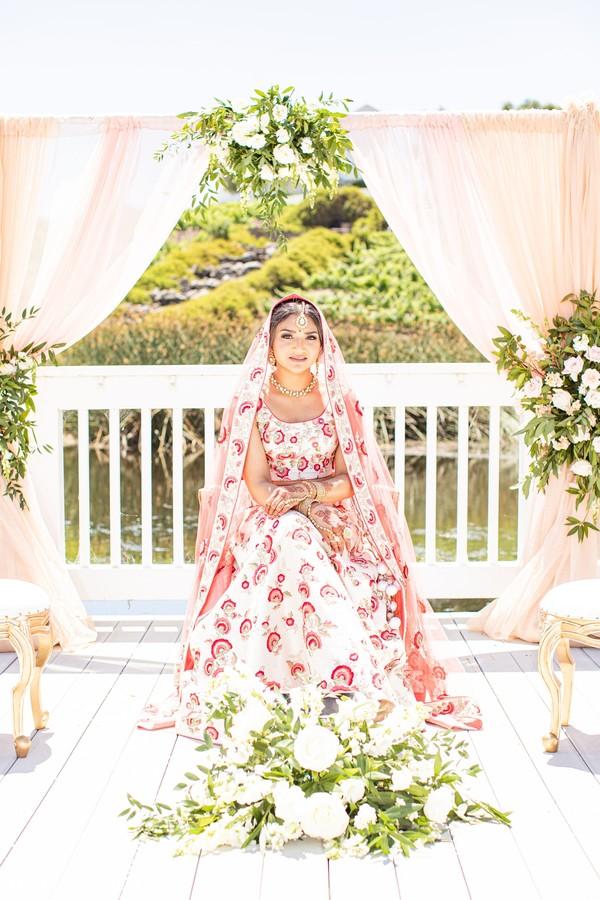 Indian bridal red print lehenga