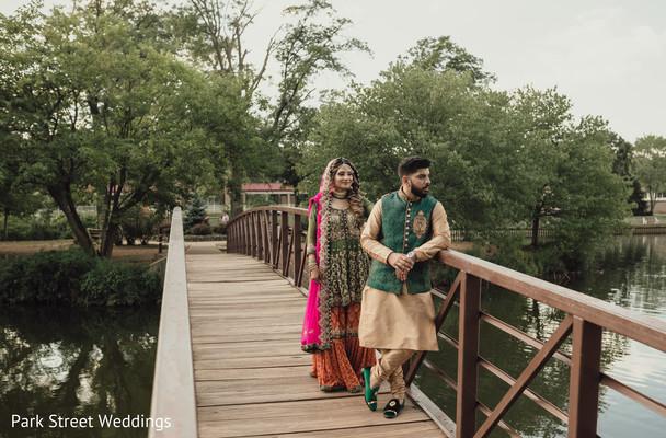 Indian bridal staring at groom behind him