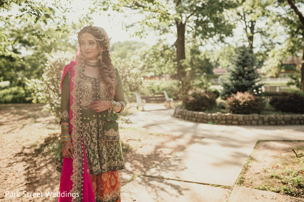 Indian bridal standing at daylight
