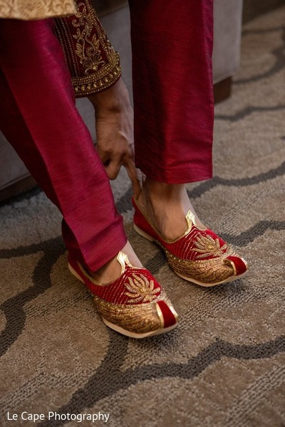 Groom red jutti shoes