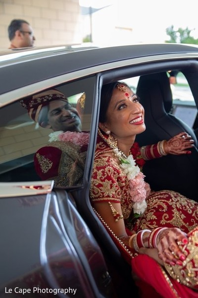 Indian bridal inside car