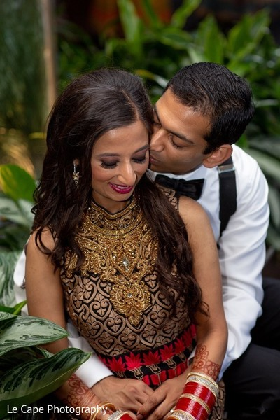 Romantic Indian wedding kiss