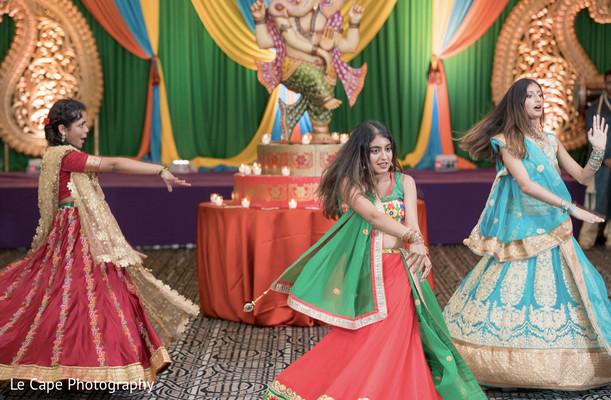 Indian bridesmaids performing a choreography at sangeet.