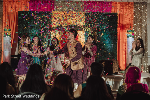 Indian wedding confetti celebration