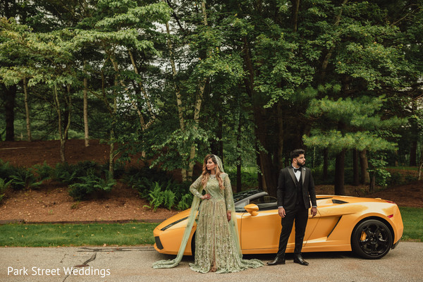 Indian wedding couple at Yellow ferrari