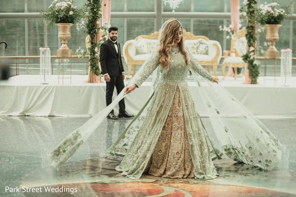 Dancing bridal with mint lehenga