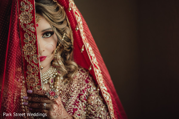 Intense red Indian bride