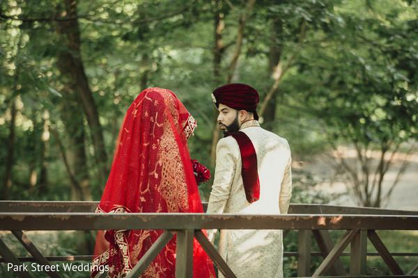 Backwards part indian couple portrait
