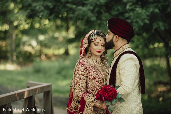 Indian couple kissing portrait