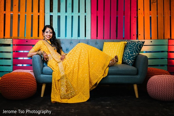 Impressive Indian bridal Sangeet Yellow lehenga.