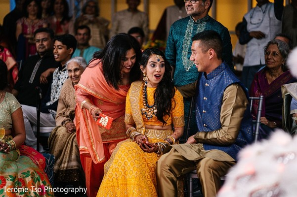 Indian couple at sangeet party.
