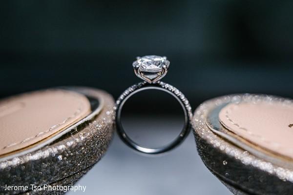 White gold indian bridal diamond engagement ring.