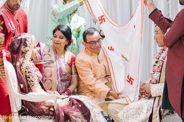 Indian couple during the Antarpat ritual.