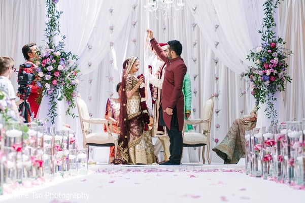 Indian couple during Indian wedding ceremony.