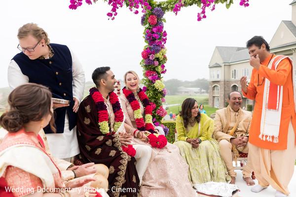 Indian wedding mandap smiles