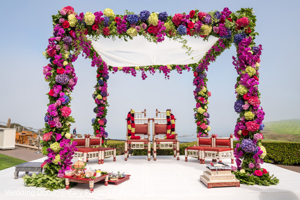 Pink, purple and white mandap flowers decoration.