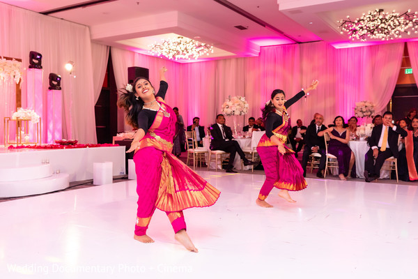 Indian wedding dancers at reception choreography.