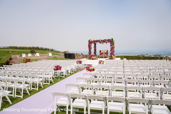 Indian wedding ceremony venue outdoors setup.