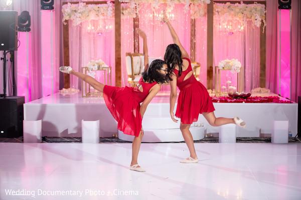 Indian wedding reception dancers capture.