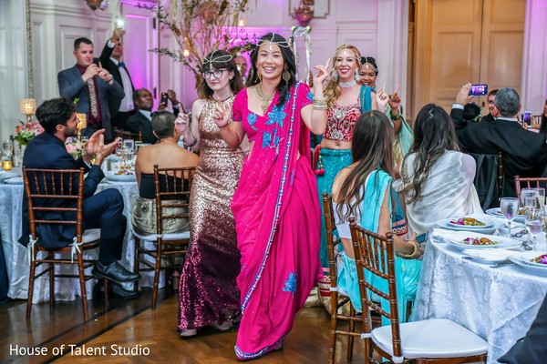 The Indian bridesmaids making their entrance