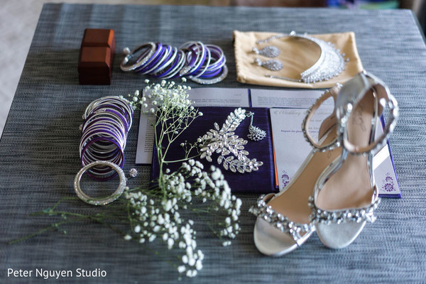 Indian bridal ceremony shoes and jewelry.