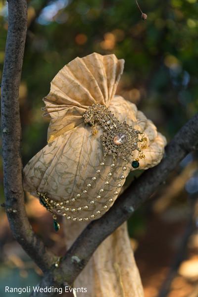 Golden Indian groom's ceremony turban.