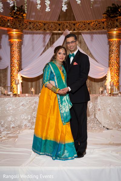 Indian wedding relatives reception photo session.