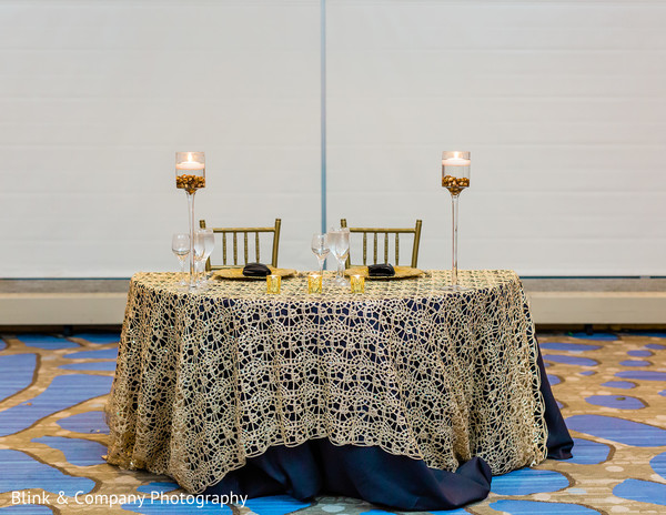 Indian couple's reception table decorations.