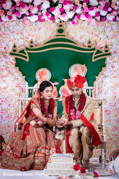 Indian bride and groom during the holy fire celebrations.