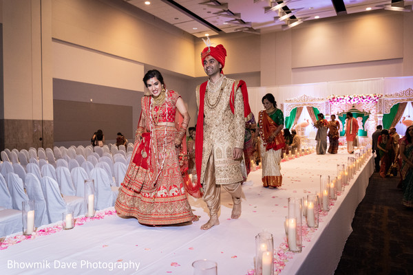 Indian Bride and Groom leaving the ceremony.