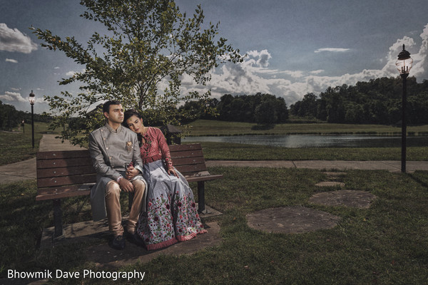 Enchanting indian couple by the lake