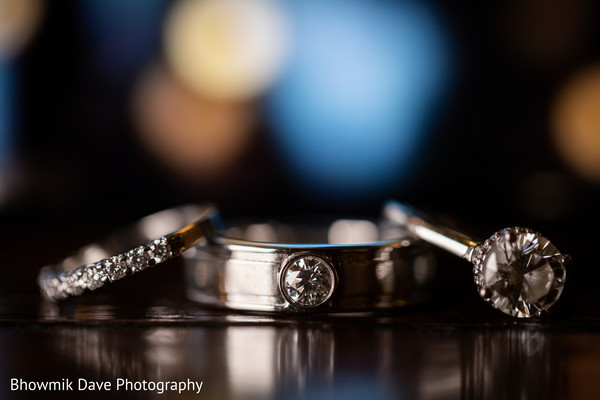 Stunning Indian engagement and wedding rings photo.