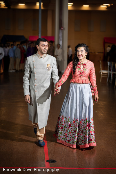 Lovely Indian couple in their reception outfits