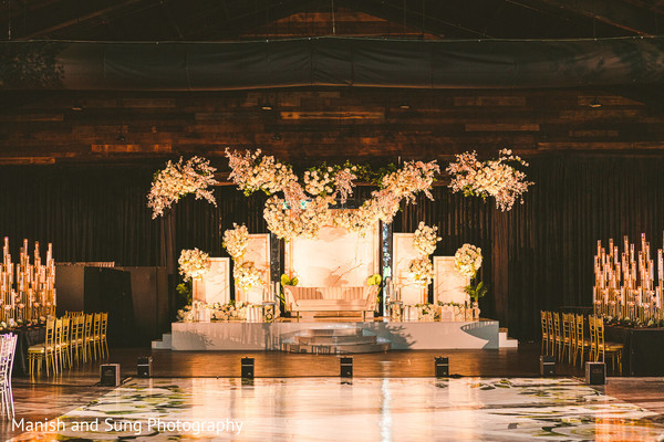 The illuminated stage in the reception hall