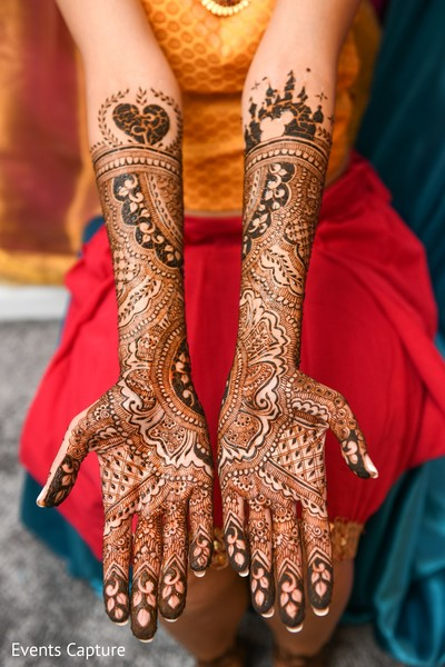 Henna art decoration for bride.
