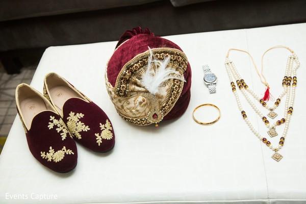 Indian groom's wedding ceremony accessories.