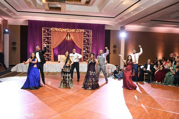Indian wedding reception dance photography.