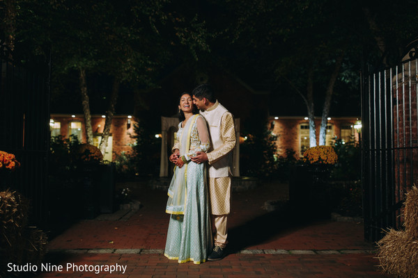 Indian couple sharing a moment at night