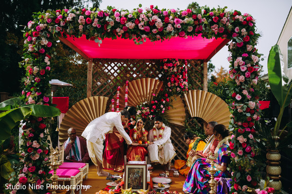 A view of the wedding stage during the ceremony