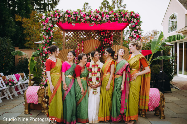 A funny picture of the Indian bride and the Indian bridesmaids