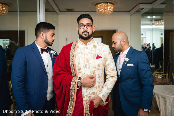 Indian groom and Indian groomsmen ready for the ceremony