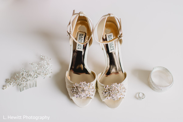 Indian bridal Christian wedding accessories and shoes.