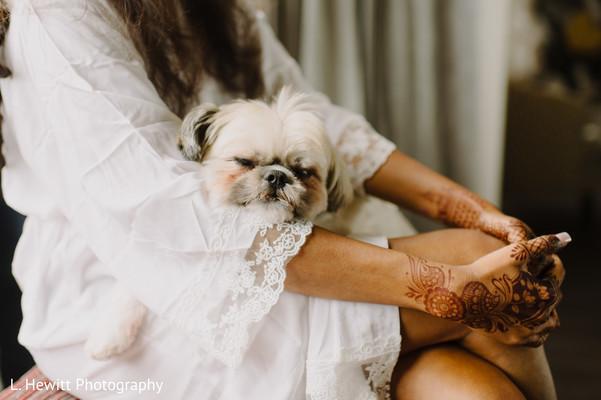 Maharani carrying her white doggie.