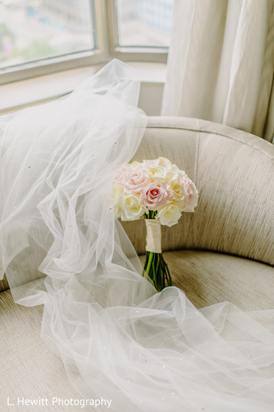 Indian bridal pink and ivory roses bouquet.