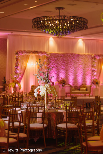 Indian wedding reception table and stage setup.
