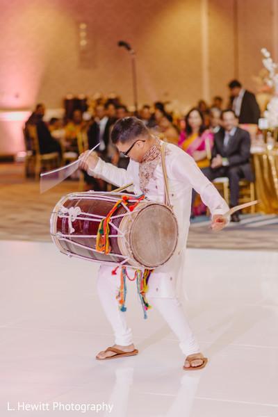 Indian wedding reception dholi player live music.