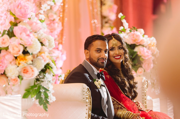 Indian couple at reception stage capture.