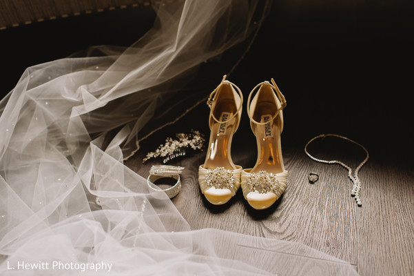 Indian Christian bridal wedding shoes and accessories.